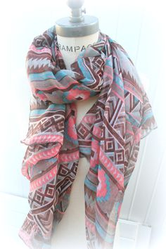 Aztec Scarf Tribal Print Peach Brown Multicolor Scarf Hipster Scarves Winter Fashion - By PiYOYO