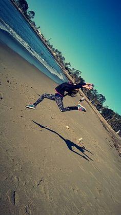 My sister, Emma, at the beach
