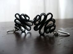 Badass Candy Ribbon  Recycled Bike Tube earrings by LittleCitrus, $15.00