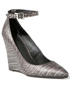 gunmetal crocodile-embossed leather wedge pump with ankle strap