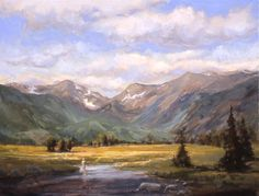 Original art for sale at UGallery.com | Moraine Park Fisherman by Cecy Turner | $875 | oil painting | 16' h x 20' w | http://www.ugallery.co...
