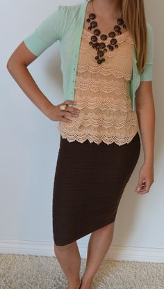 Cute lace tank. Dark brown skirt, mocha brown blouse, mint cardigan