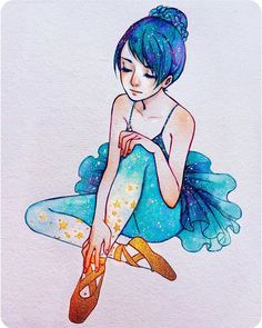 """""""The magical ballet shoes ⭐️"""" - Finally done! Haha dunno why this took me so long but the dress was really fun to paint.😁 #ballet #dancer #inktober #star #gouache #watercolor #goldink"""