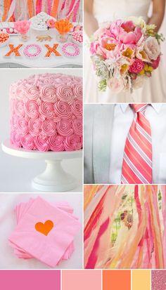 Shades-of-Pink-and-Orange Read more on http://onefabday.com/pastel-pink-orange-wedding-colour-scheme/