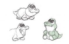 Sketches of baby tic toc croc