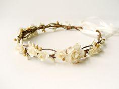 Corona de flores, accesorios rústicos de boda para el cabello, el casco nupcial, venda floral, guirnalda de Marfil - DULCE