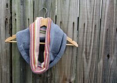 upcycled sweater circle scarf - this one is lined with another scarf, so no loose ends to unravel