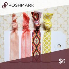 Set of 4 Boho Coral Yellow Festival Hair Ties PRICES ARE FIRM UNLESS BUNDLED.   This is a set of 4 foldover elastic hair ties that are heat sealed on the ends to prevent fraying. For patterned hair ties, the pattern is only on one side (the reverse side is usually white unless the pattern is gold foil).   These are handmade by me, Posh Pony, and come with the card as shown and make great party favors or bridesmaids' gifts. Multiple sets are available. Accessories Hair Accessories