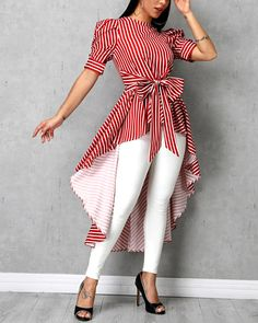 Striped Bowknot Detail Dip Hem Blouse - New Tutorial and Ideas Kurta Designs, Kurti Designs Party Wear, Blouse Designs, African Fashion Dresses, African Dress, Trend Fashion, Fashion Outfits, Style Fashion, Fashion Blouses