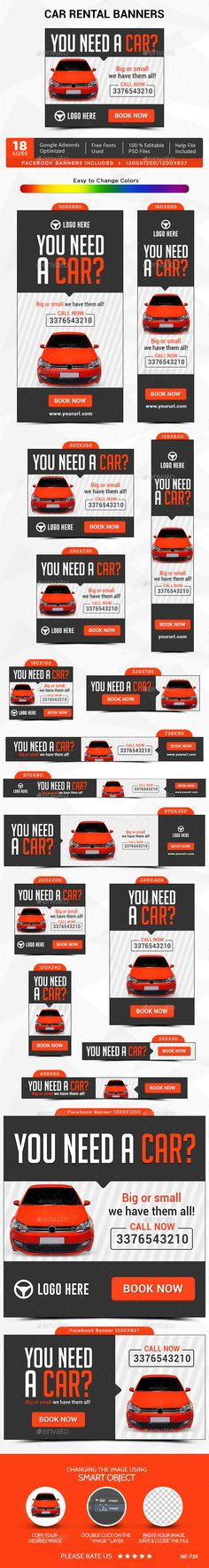 Car Rental Banners Cars, Template and Web banners - car ad template