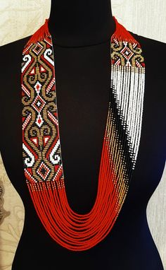 Gerdan, Traditional Ukraine necklace, Handmade Jewelry, Ukrainian Jewelry, long necklace Folk Ukrainian gerdan - diy and joy Diy Jewelry To Sell, Custom Jewelry, Jewelry Making, Beaded Necklace Patterns, Beading Patterns, Bead Jewellery, Beaded Jewelry, Soutache Jewelry, Handmade Necklaces