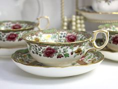 Bone China Teacup, Antique Ovington, Wide Tea Cup and Saucer 12407 - The Vintage Teacup - 1