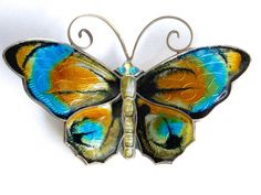 David Andersen Butterfly brooch. Enamel Sterling 925s Norway Guilloche, large Retro pin by JewelryOnVintageLane on Etsy https://www.etsy.com/listing/236162938/david-andersen-butterfly-brooch-enamel