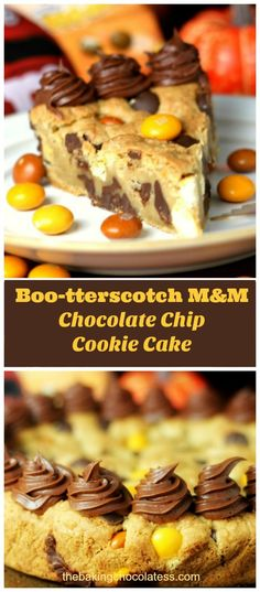 This Chocolate Chip Cookie Cake is filled with amazing, creamy white chocolate Boo-terscotch M&M candy coated treats that pack a powerful punch of intense butterscotch flavor! via @https://www.pinterest.com/BaknChocolaTess/
