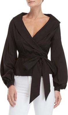 Milly Shawl Collar Wrap Blouse