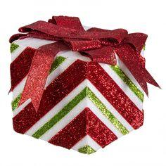 "5"" Glitter Peppermint Stripe Gift Box Ornament"