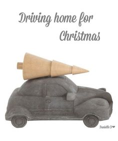 Creative Co-Op Concrete Vehicle & Tree Decoration Driving Home For Christmas, Winter Christmas, Christmas Home, Creative Co Op, Wood Tree, Deck The Halls, Green Turquoise, Tree Decorations, All The Colors