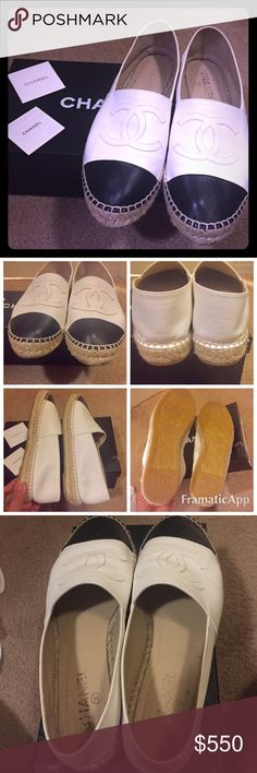 Authentic Chanel Lambskin Espadrilles , Sz 8 Authentic Chanel Espadrilles in white and black lambskin . Sz 9 but fits 8 . This is in great condition , worn only a few times . This is a steal as one can be on waitlist on this forever . Will come with the original box . Shop with confidence as posh will check the authenticity . This is so perfect for Fall ! 🌺 CHANEL Shoes Espadrilles