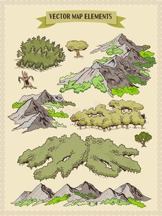 Vector map elements, colorful, hand draw - forest, tree, wood - Buy this stock vector and explore similar vectors at Adobe Stock Fantasy Map Making, Fantasy World Map, Dnd World Map, Forest Map, Pirate Treasure Maps, Map Sketch, Tree Map, Forest Drawing, Adventure Map