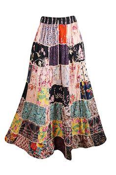 e686206df9 Mogul Interior Women's Beach Summer Maxi Skirt Patchwork Gypsy Boho Hippie  Skirts S/M Pink