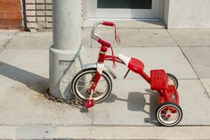 Red Radio Flyer Tricycle, Venice Beach California, Fine Art Print, Canvas Wrap, Color Photography, Street Photography Print
