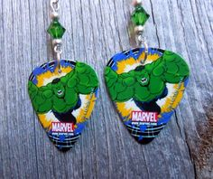 Hulk Lunging Guitar Pick Earrings with Green Crystals by ItsYourPickToo on Etsy