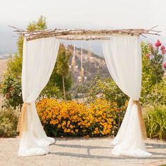 Alter/backdrop with birch branches and white draping.  Elegant Vineyard wedding | 100 Layer Cake
