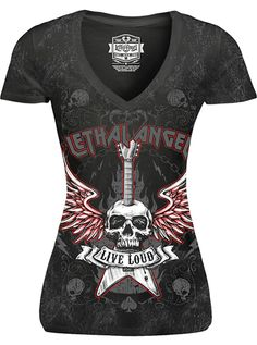 "Women's ""Live Loud"" Tee by Lethal Angel (Mineral Washed Black)"