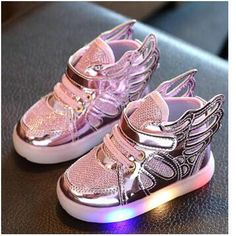 Nice Free Gift 2017 New Girls Luminous LED Light Shoes Angel Wings Baby Boys Casual Led Shoes Children Sneakers size 21-30 - $ - Buy it Now!