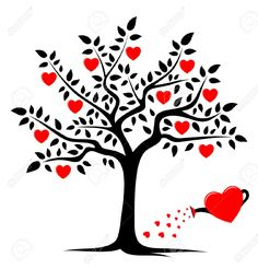 vector heart tree and heart watering can isolated on white background , Henna Doodle, Valentines Watercolor, Heart Tree, Celtic Tree, Wood Burning Patterns, Tree Art, Mobile Wallpaper, Peace And Love, Painted Rocks
