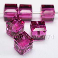 6 pcs Swarovski Crystal 5601 Cube Beads 6mm Crystal FUCHSIA