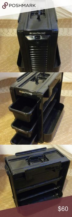 """PROFESSIONAL SALON MOBILE STATION Three slide out drawers. Carry handle. Room for product on sides. Measurements are 14"""" length x 11"""" wide x 15"""" height. A must for traveling stylists! Mobile Station Accessories Hair Accessories"""
