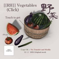 [[RH]] Vegitables | We have Japanese Summer item set for discount price.  Please check it too !!    If you have any question about our item please send note card to Ouka Ugajin    [[RH]] Design House Ryo Ixxel  Ouka Ugajin
