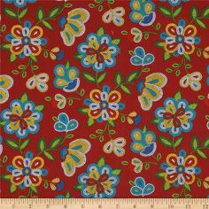 Tucson Beaded Floral Red from @fabricdotcom  From Elizabeth's Studio, this cotton print is perfect for quilting, apparel and home decor accents. Colors include red, white, black, aqua, blue, yellow and shades of green.