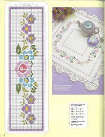 Bordado Passo a Passo: Ponto cruz - Flores e barras de crochê para toalhas