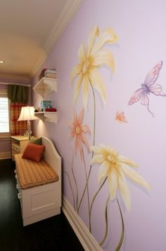 Bedroom Teenage Girls Murals Design, Pictures, Remodel, Decor and Ideas - page - Bedroom Decor Ideas - Architektur Girls Bedroom Mural, Wall Murals Bedroom, Bedroom Decor, Bedroom Photos, Simple Wall Paintings, Murals For Kids, Interior Design Themes, Easy Wall, Mural Painting