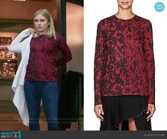 Liv's red and black printed top on iZombie Izombie Tv Series, Fashion Tv, Fashion Outfits, Rose Mciver, Proenza Schouler, Costume Design, Black Print, Cosplay, Printed