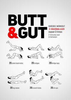 Butt & Gut Workout by DAREBEE #darebee #workout #fitness