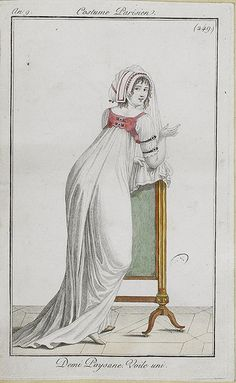 """1801, Costume Parisien. """"Half peasant,"""" literal translation, referring to the sleeveless bodice. Bonnet with heavy veil."""