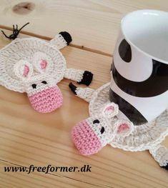 Cow Coaster : Ravelry: Cow Coaster pattern by Lena Knudsen Crochet Coaster Pattern, Crochet Doily Patterns, Crochet Animal Patterns, Crochet Designs, Crochet Doilies, Crochet Flowers, Crochet Cow, Thread Crochet, Love Crochet
