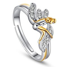 QUKE 925 Sterling Silver 3D Butterfly Adjustable Band Ring Sizes From L 1/2 to R 1/2 Fashion Women Jewellery qwAwy