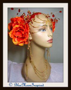 Headpiece Headdress Burning Man Headpiece by BlueMoonInspired13, $135.00