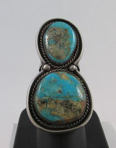VINTAGE NAVAJO OLD PAWN STERLING SILVER & TURQUOISE 2 STONE RING