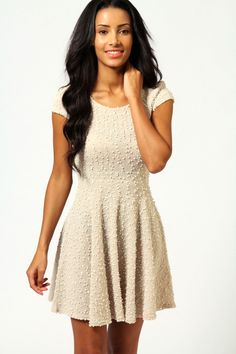 Kelly Fabric Detail Cap Sleeve Skater Dress