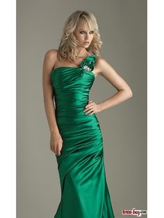 Buy Custom Made High Quality Spring Style Green Long Backless One-shoulder Ruched Hand-made Flower Prom Dresses PD-7015 at wholesale cheap prices from Bridal-Buy.com