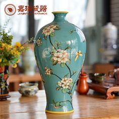 Delicada grandes jarrones de porcelana decoración florero de mesa moderna pintura del tanque mano mueble TV jarrón de cerámica decorativa(China (Mainland))