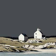 Ron Lawson - Mannal, Tiree (Limited Edition Print) – The Mulberry Tree Gallery Watercolor Landscape, Landscape Art, Landscape Paintings, Watercolor Art, Seascape Art, Contemporary Landscape, Beautiful Paintings, Art Techniques, Gouache