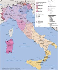 Language and Dialects in Italy by region