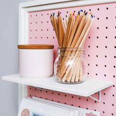 Pegboard Shelves when combined with pretty pegboards make great storage solutions especially for nurseries, kids rooms, craft areas and kitchens.   Check out more ideas on our Instagram and Facebook pages  #shelving #shelves# kidsroomstorage #craftroomstorage #craftroom #pegboardshelf #pegboardaccessories #pegbaordbaskets #pegboard #pegboardinspo #pegboardstyling