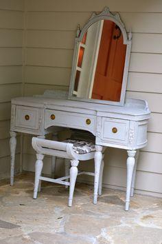 Vintage Handpainted Upcycled Repurposed Paris Grey Vanity Mirror and Stool